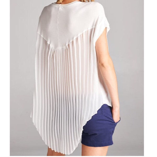 chiffon pleated top-white