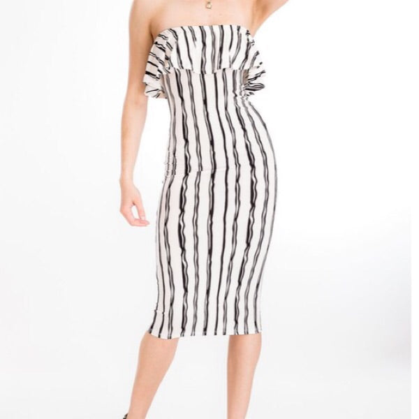 White strapless ruffle stripe dress