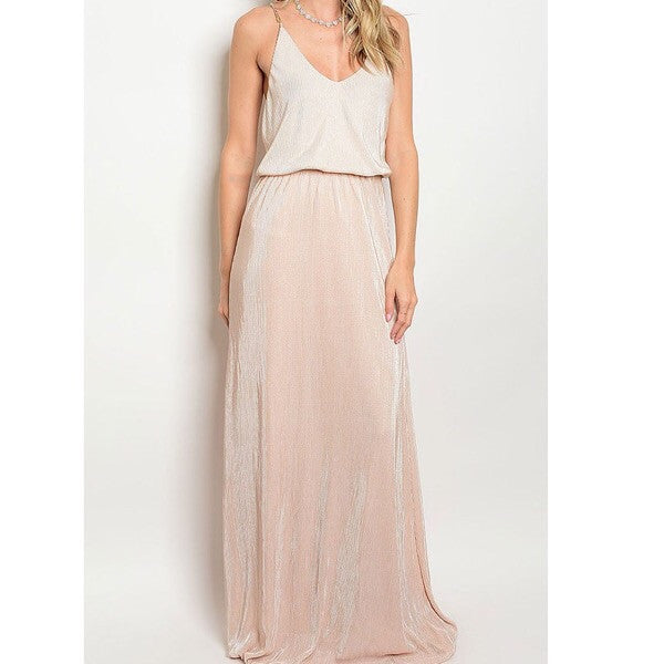 Smock Waist Maxi Dress - taupe