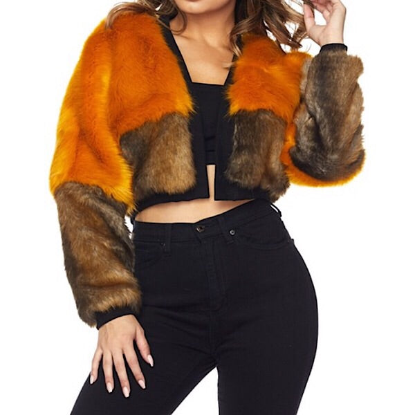 Colorblock Faux Fur Jacket