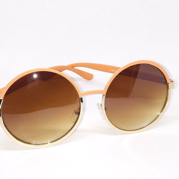 circle sunglasses-peach
