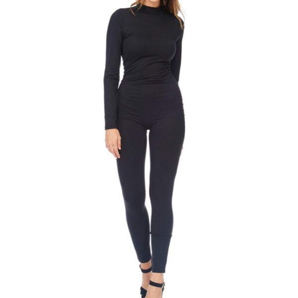Long sleeve mock neck jumpsuit