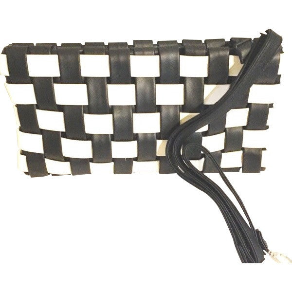 Weaved Black and White Clutch - ShopFAH Boutique