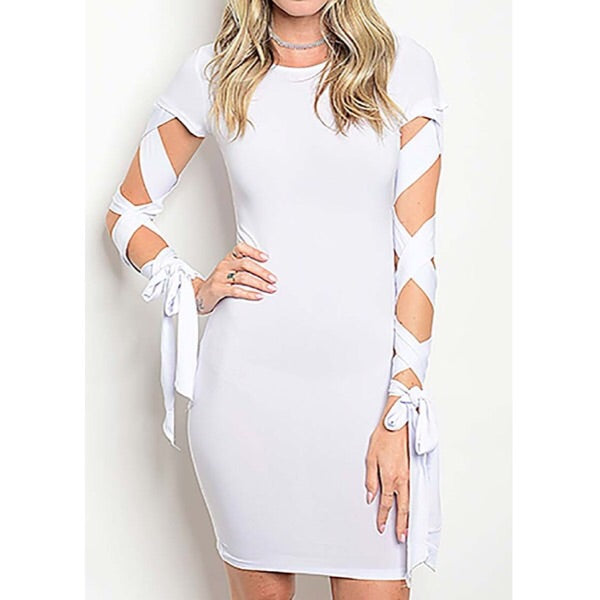 Lace-up dress in white