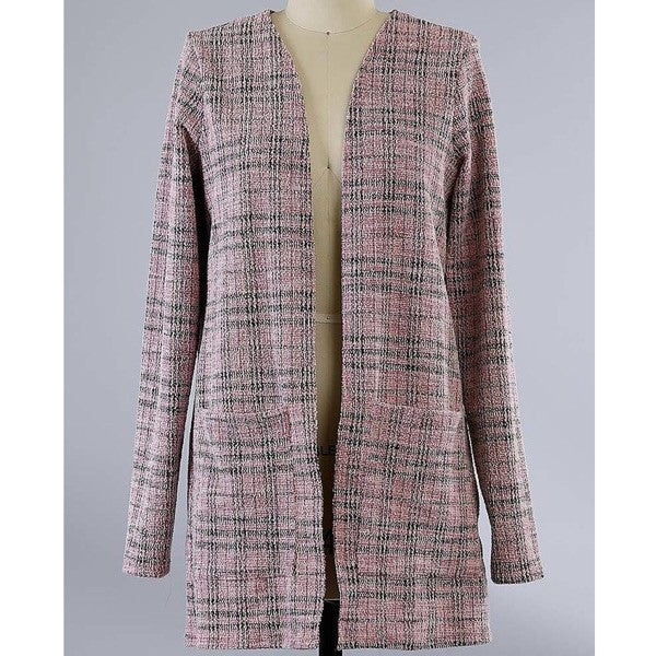 Tweed jacket with front pockets-pink
