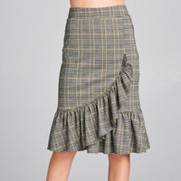 Ruffle Wrap Check Skirt