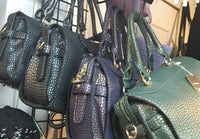 Dotted Handbag in black, navy and green
