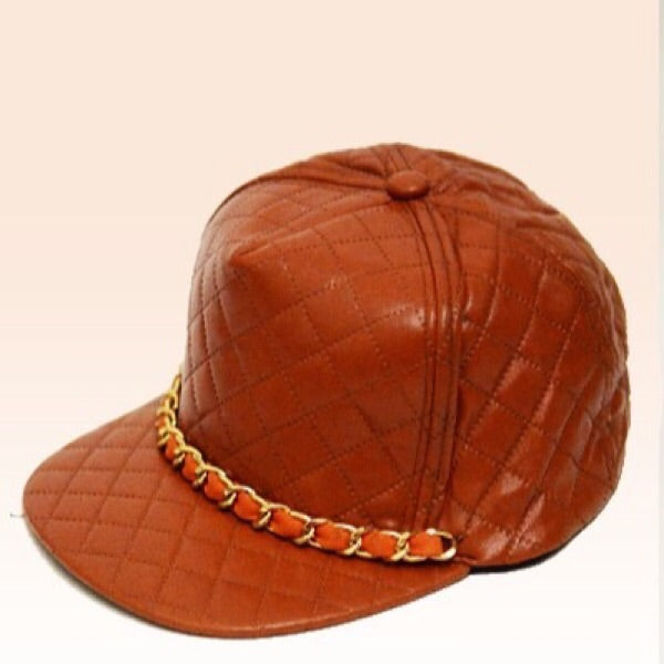 Quilted Chain Cap in Cognac