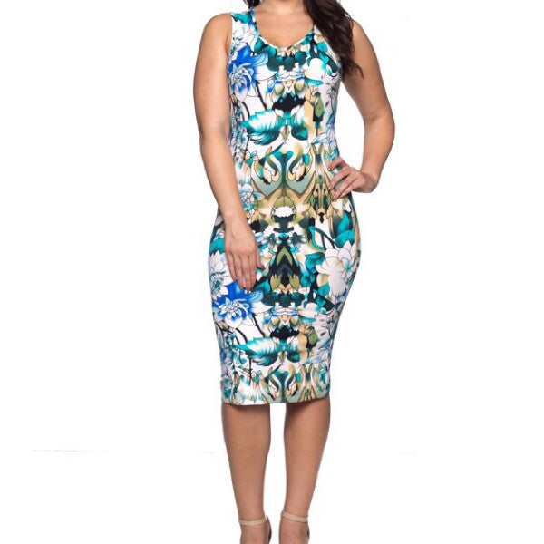 Printed Essential Dress-Plus Size - ShopFAH Boutique