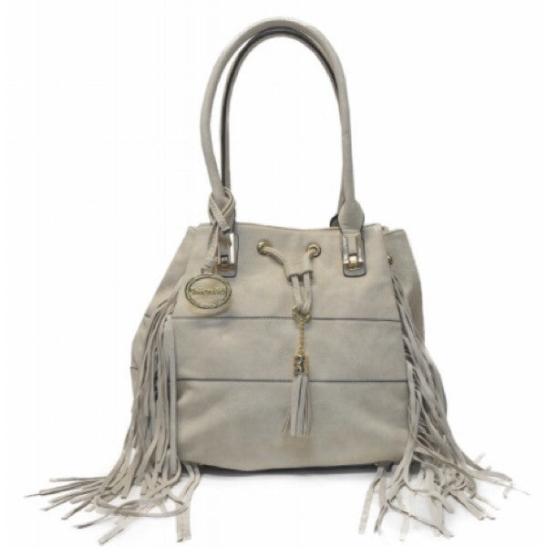 Fringe Hobo Bag-Cream