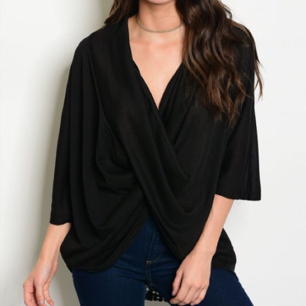 Crochet back blouse in black