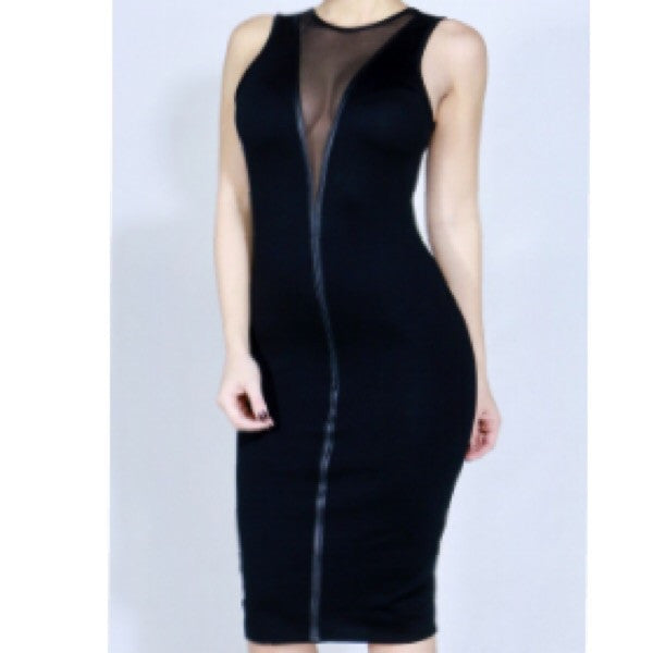 leather trim midi dress with mesh inset