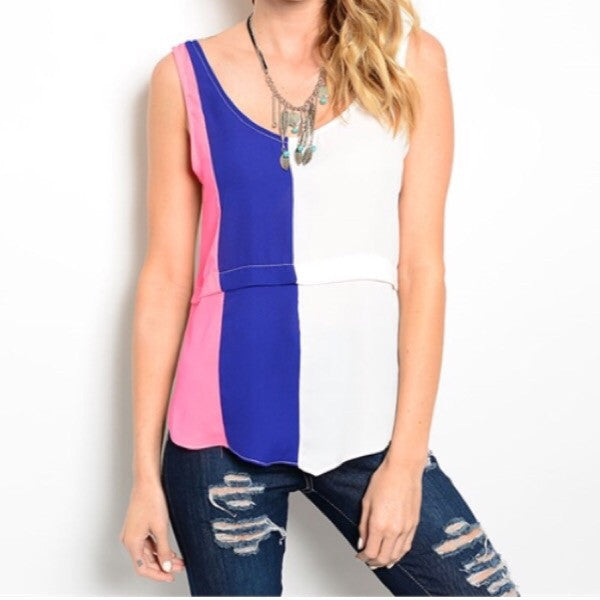 Colorblock scalloped hem tank top