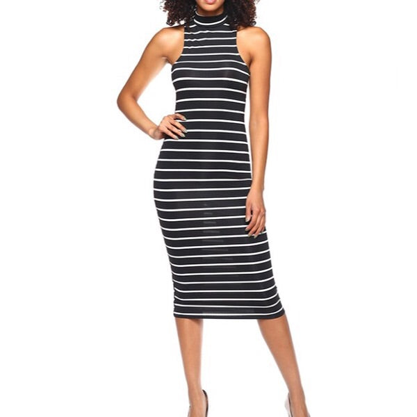 stripe mock neck dress