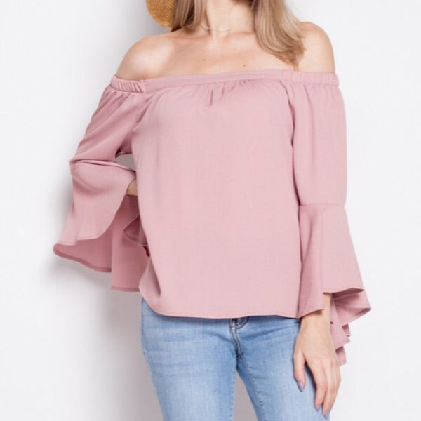 Off Shoulder Bell Sleeve Shirt-Rose
