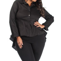 Hi-lo button up shirt in plus size