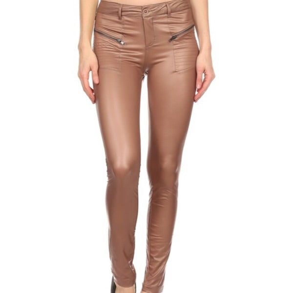 Zip Up Leather pants in khaki