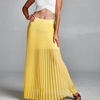 Chiffon Pleated Maxi Skirt in yellow