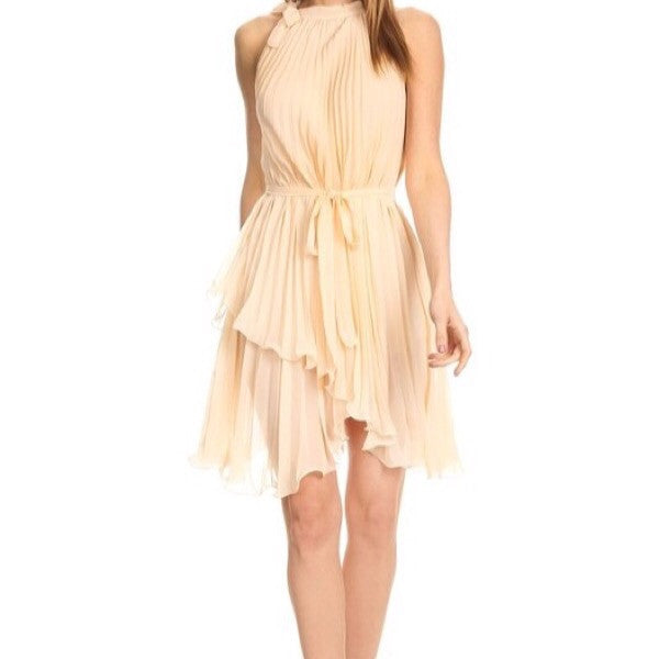 Pleated Chiffon Dress-Nude - ShopFAH Boutique
