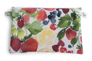 Medium Sized Zipper Topped Bag  - Strawberries, Blueberries, Cirtus Fruit on White Fabric