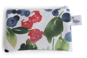 Coin Purse - Strawberries, Blueberries, Cirtus Fruit on White Fabric