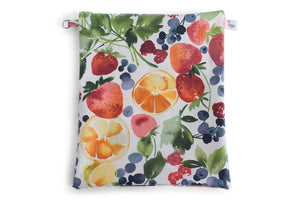 Water Resistant Large Zipper Pouch - Strawberries, Blueberries, Cirtus Fruit on White Fabric