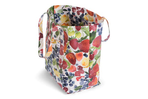 Large Tote Bag - Strawberries, Blueberries, Cirtus Fruit on White Fabric