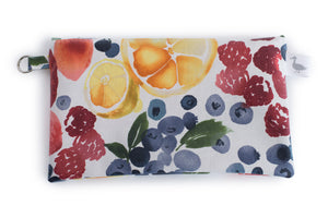 Small Sized Zipper Topped Bag - Strawberries, Blueberries, Cirtus Fruit on White Fabric