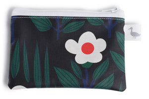 Coin Purse - Black with White/Orange Flowers Fabric