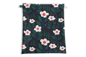 Large Wet Bag - Black with White/Orange Flowers Fabric