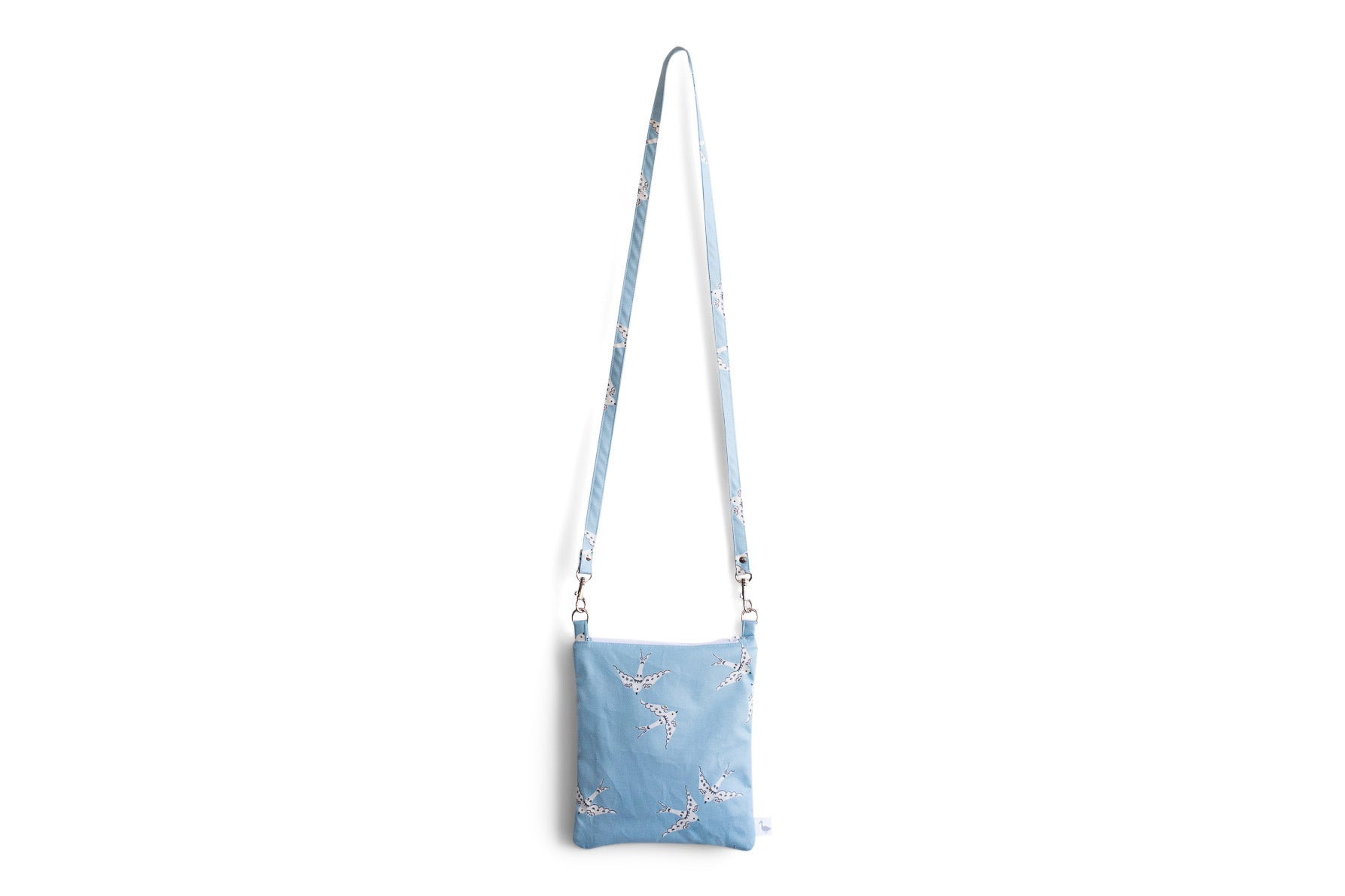 Small Crossbody Purse with Light Blue with White Doves Fabric