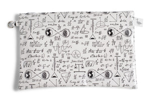 Medium Sized Zipper Topped Bag - Physics and Mathematical Equations in Black Ink on White Fabric