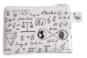 Coin Purse - Physics and Mathematical Equations in Black Ink on White Fabric