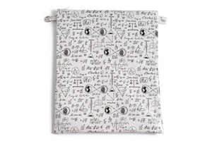 Large Sized Zipper Topped Bag - Physics and Mathematical Equations in Black Ink on White Fabric