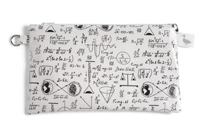 Small Sized Zipper Topped Bag - Physics and Mathematical Equations in Black Ink on White Fabric