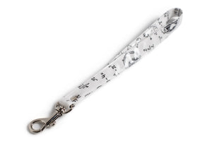 Wrist Strap or Key Chain - Physics and Mathematical Equations in Black Ink on White Fabric