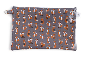 Medium Sized Zipper Topped Bag - Orange Foxes on Grey Fabric