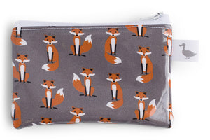 Coin Purse - Orange Foxes on Grey Fabric