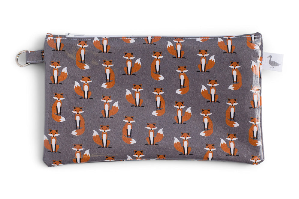 Small Sized Zipper Topped Bag - Orange Foxes on Grey Fabric