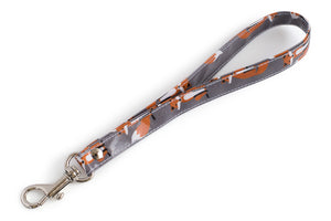 Wrist Strap or Key Chain - Orange Foxes on Grey Fabric