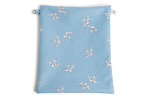 Large Sized Zipper Topped Bag - Light Blue with White Doves Fabric