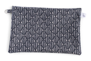 Medium Sized Zipper Topped Bag - Black and Grey Leaves Fabric