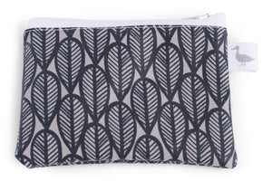 Coin Purse -  Black Leaves on Grey Fabric