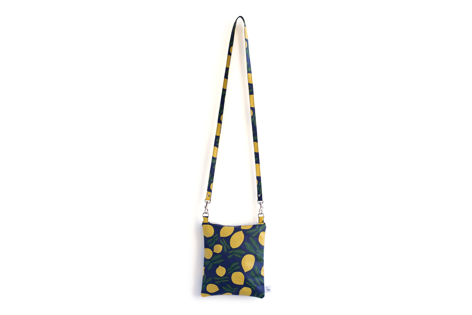 Small Cross Body Bag with Bright Blue with Yellow Lemons Fabric