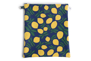 Large Sized Zipper Topped Bag - Bright Blue with Yellow Lemons Fabric