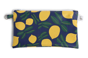 Small Sized Zipper Topped Bag - Bright Blue with Yellow Lemons Fabric