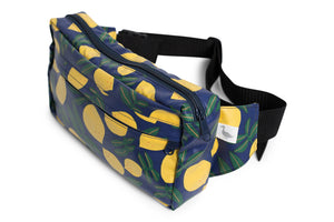 Hip Pouch - Fanny Pack - Hipster in Bright Blue with Yellow Lemons Fabric