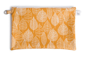 Medium Sized Zipper Topped Bag - Mustard Fabric with White Leaf Line Drawings