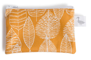 Coin Purse - Mustard Fabric with White Leaf Line Drawings