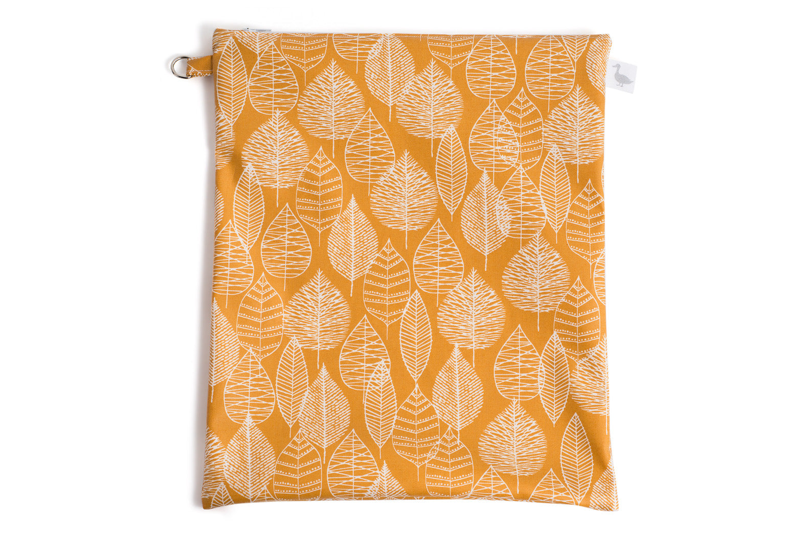 Large Sized Zipper Topped Bag - Mustard Fabric with White Leaf Line Drawings
